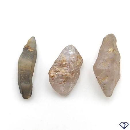 Lot de 3 Saphirs bruts naturels - Pierres de collection du Sri Lanka