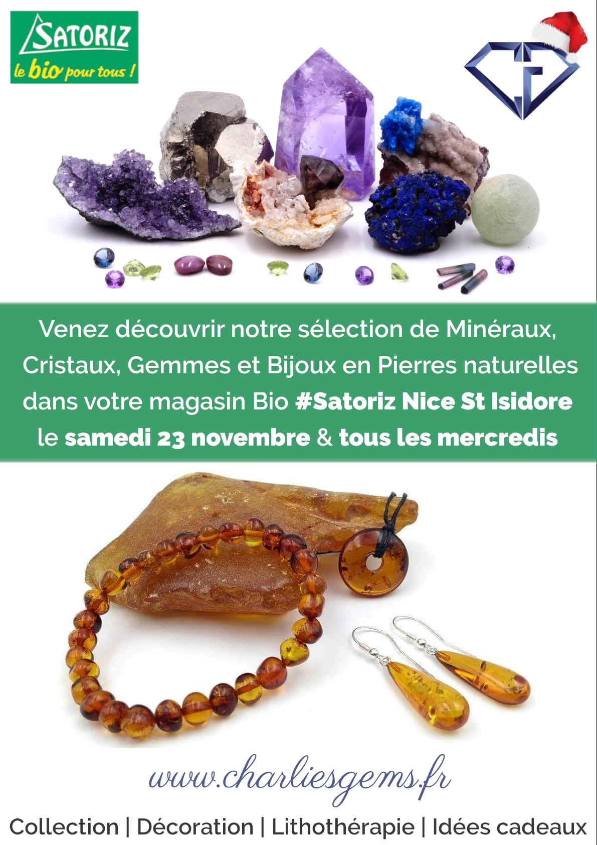 Retrouvez le stand de Charlie's Gems tous les mercredis à Satoriz Nice St Isidore