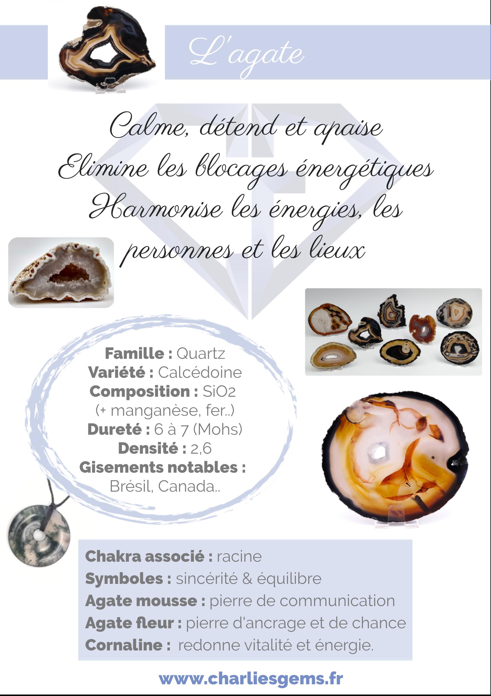 Fiche de présentation de l'Agate (description, lithothérapie, propriétés)- Par Charlie's Gems