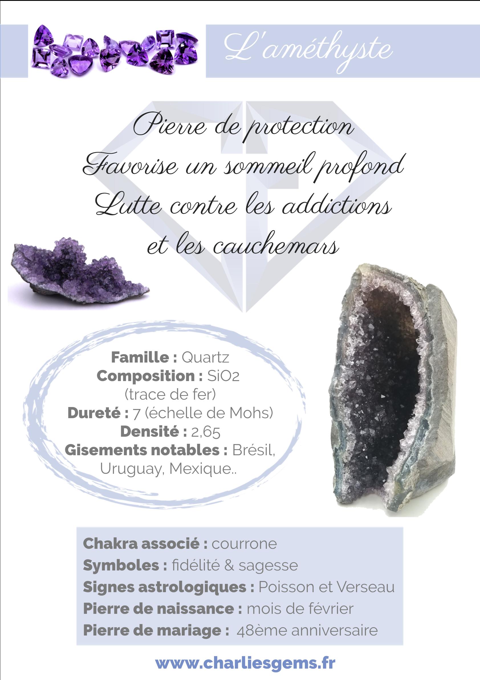 Fiche de présentation de l'Améthyste (description, lithothérapie, propriétés) - Par Charlie's Gems