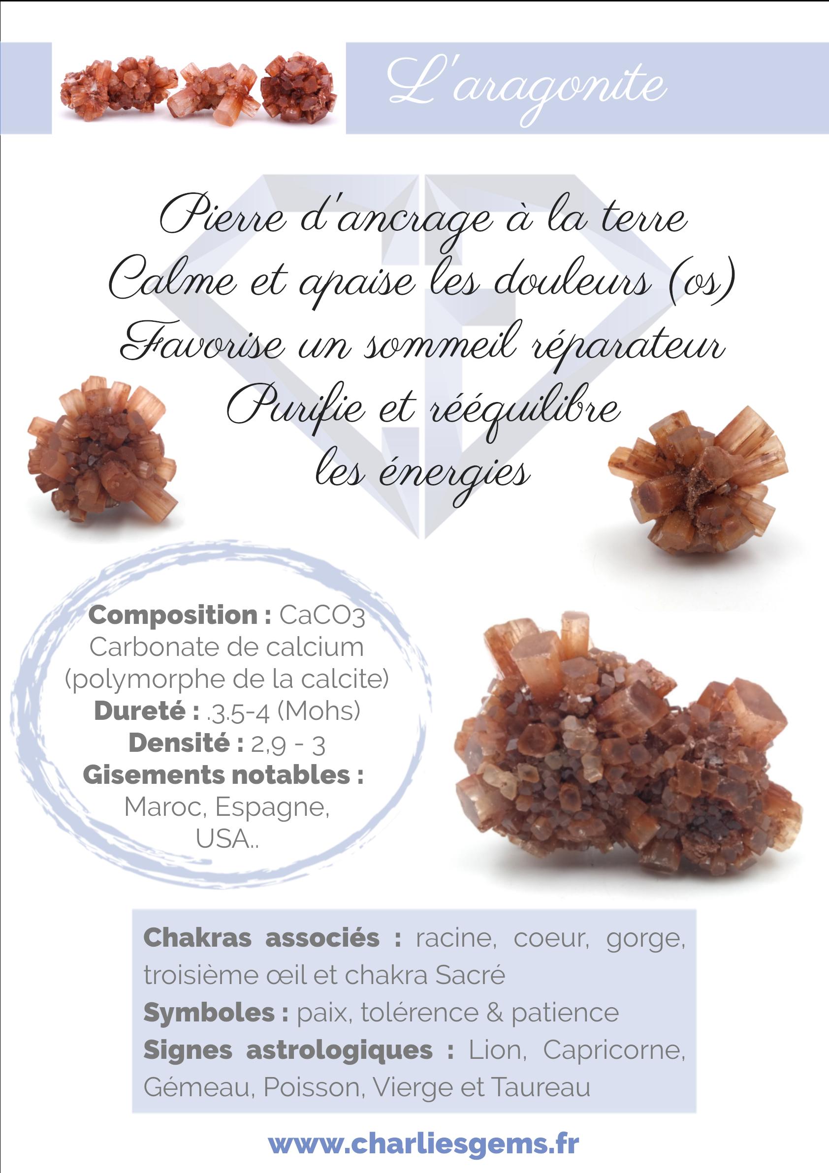 Fiche de présentation de l'Aragonite (description, lithothérapie, propriétés) - Par Charlie's Gems