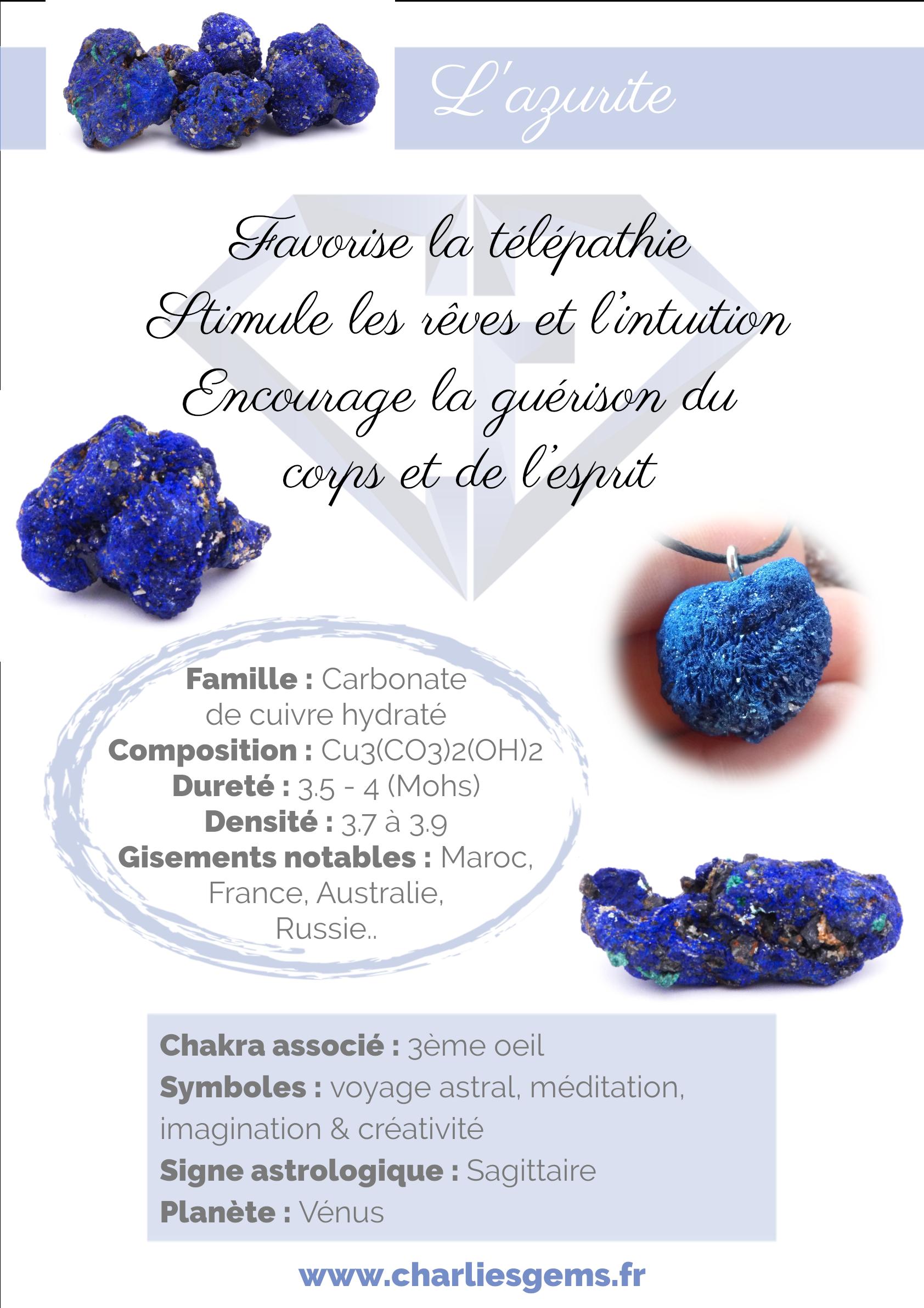 Fiche de présentation de l'Azurite (description, lithothérapie, propriétés) - Par Charlie's Gems