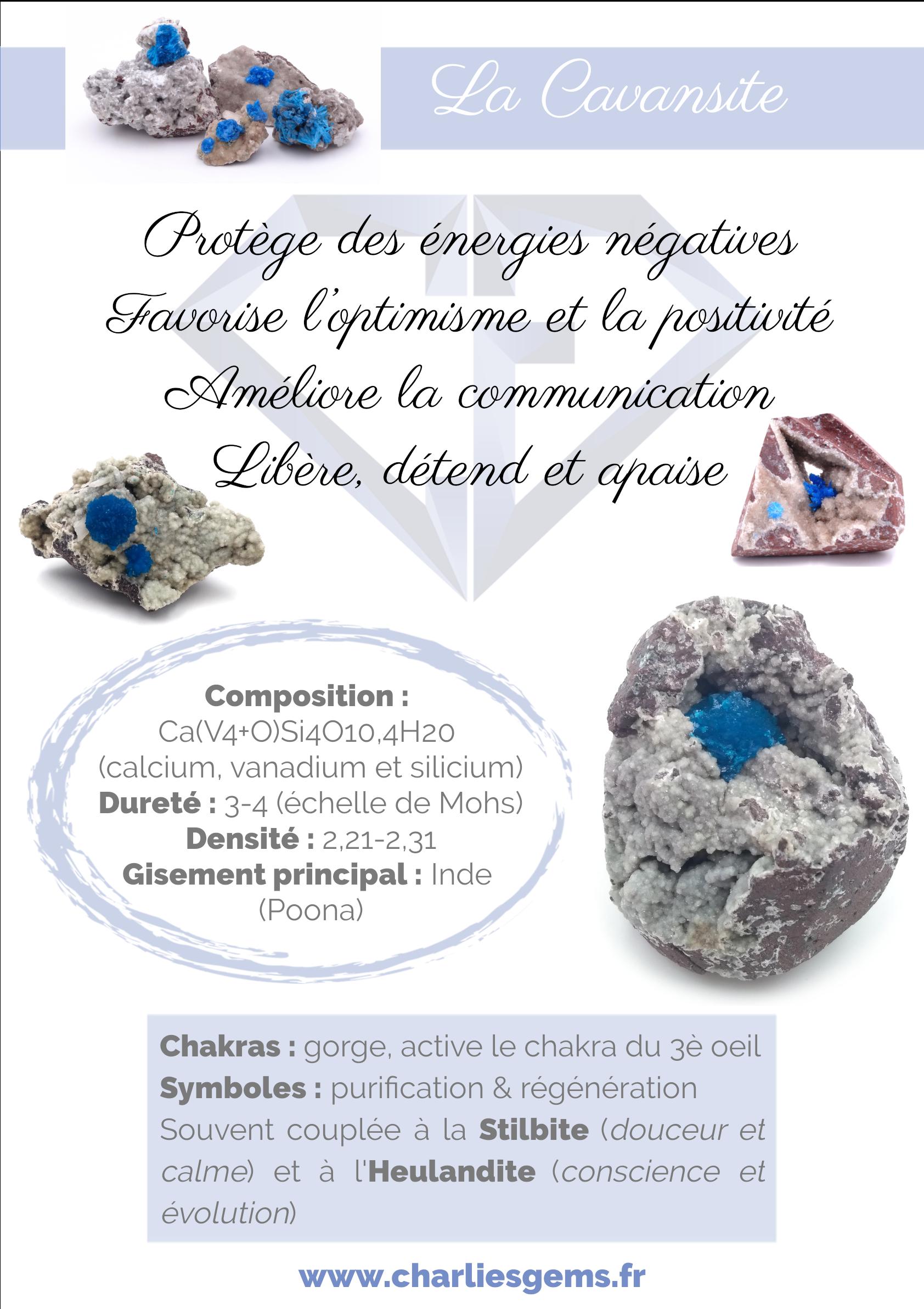 """""""Fiche de présentation de la Cavansite (description, lithothérapie, propriétés) - Par Charlie's Gems"""