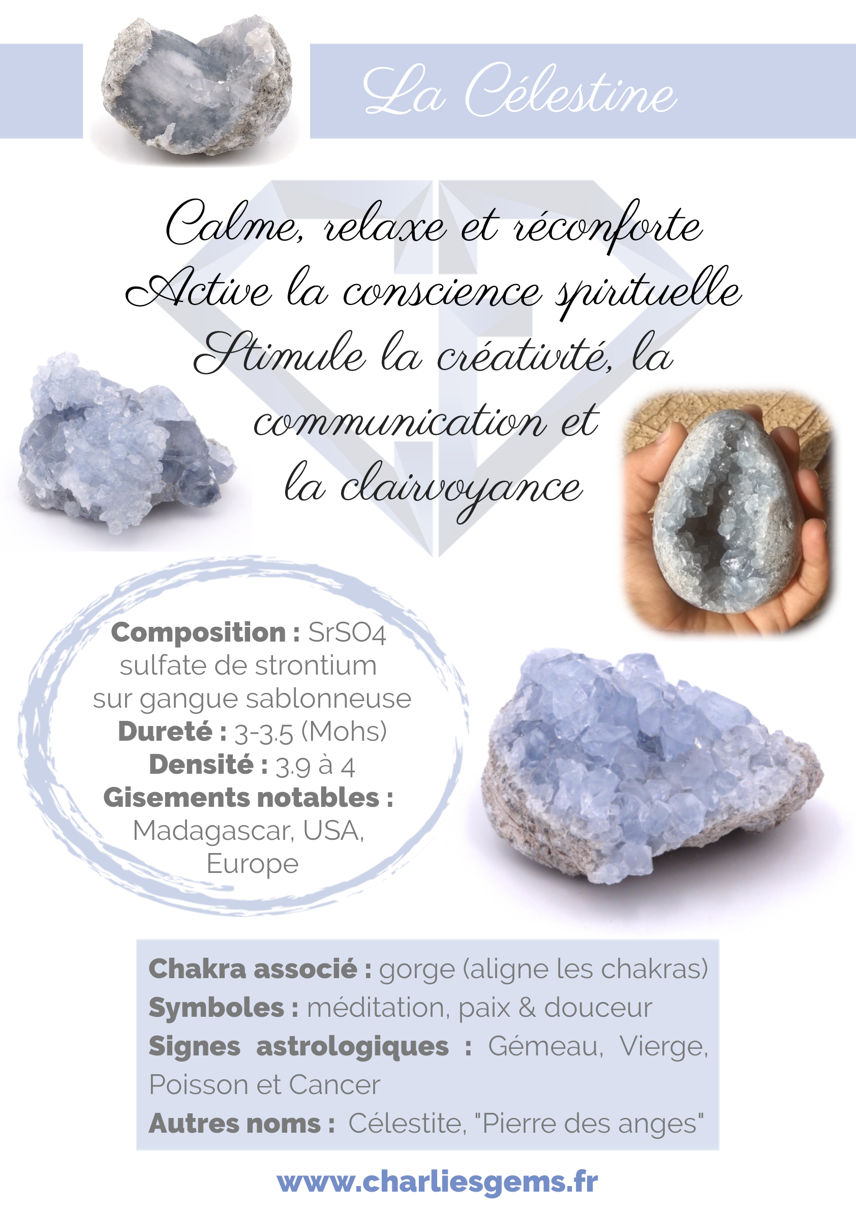 Fiche de présentation de la Célestine (description, lithothérapie, propriétés) - Par Charlie's Gems