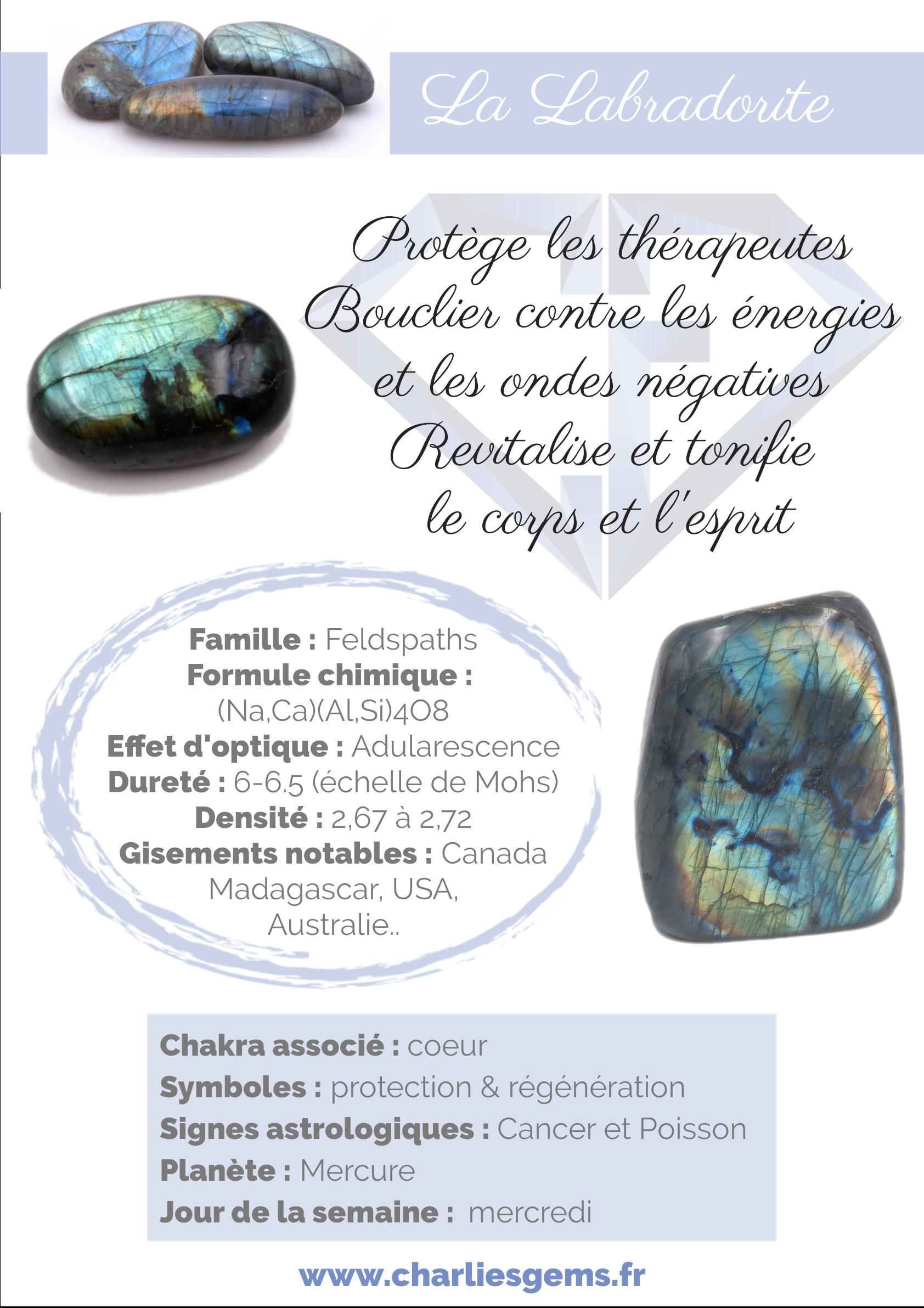 Fiche de présentation de la Labradorite (description, lithothérapie, propriétés) - Par Charlie's Gems
