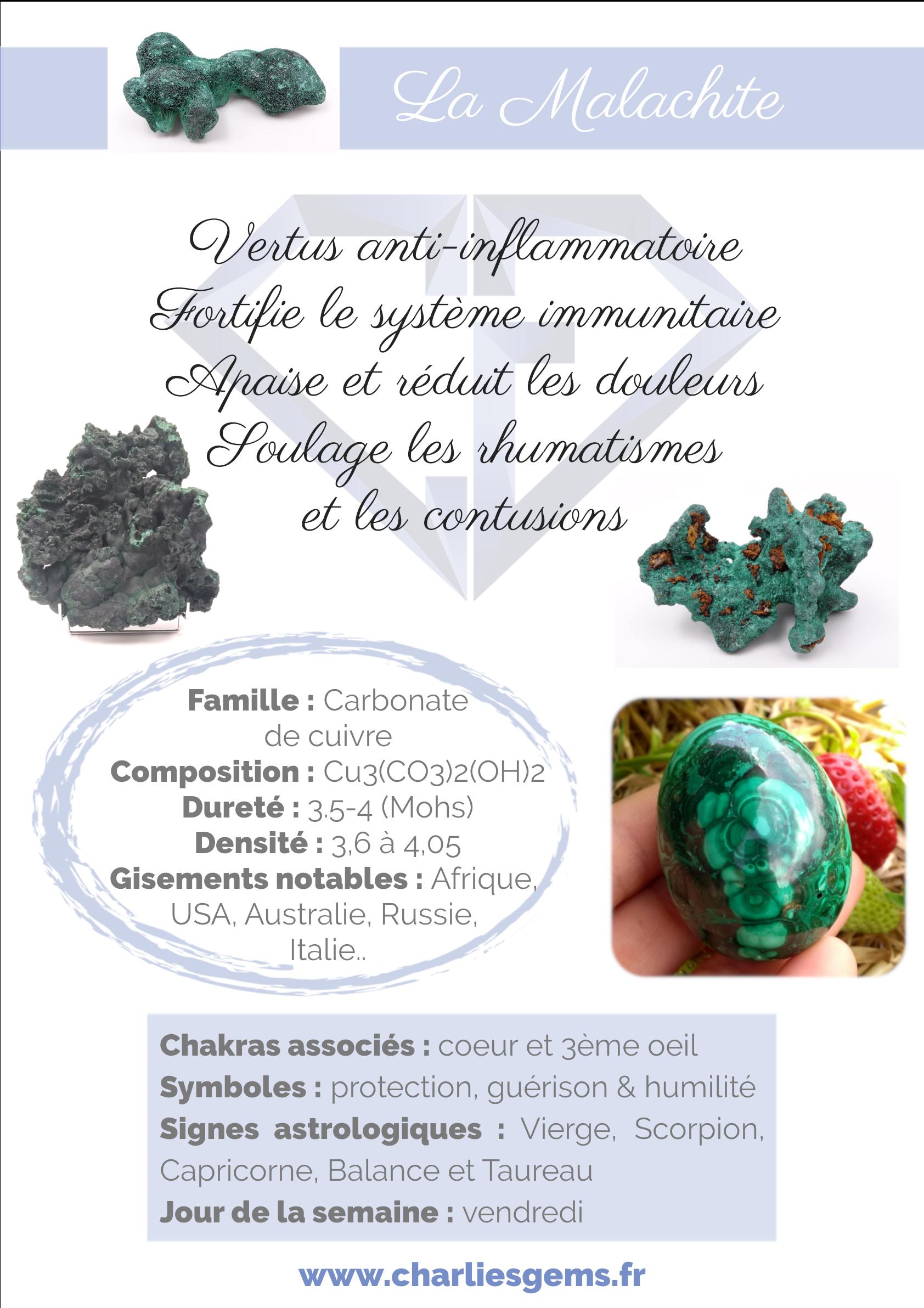Fiche de présentation de la Malachite (description, lithothérapie, propriétés) - Par Charlie's Gems