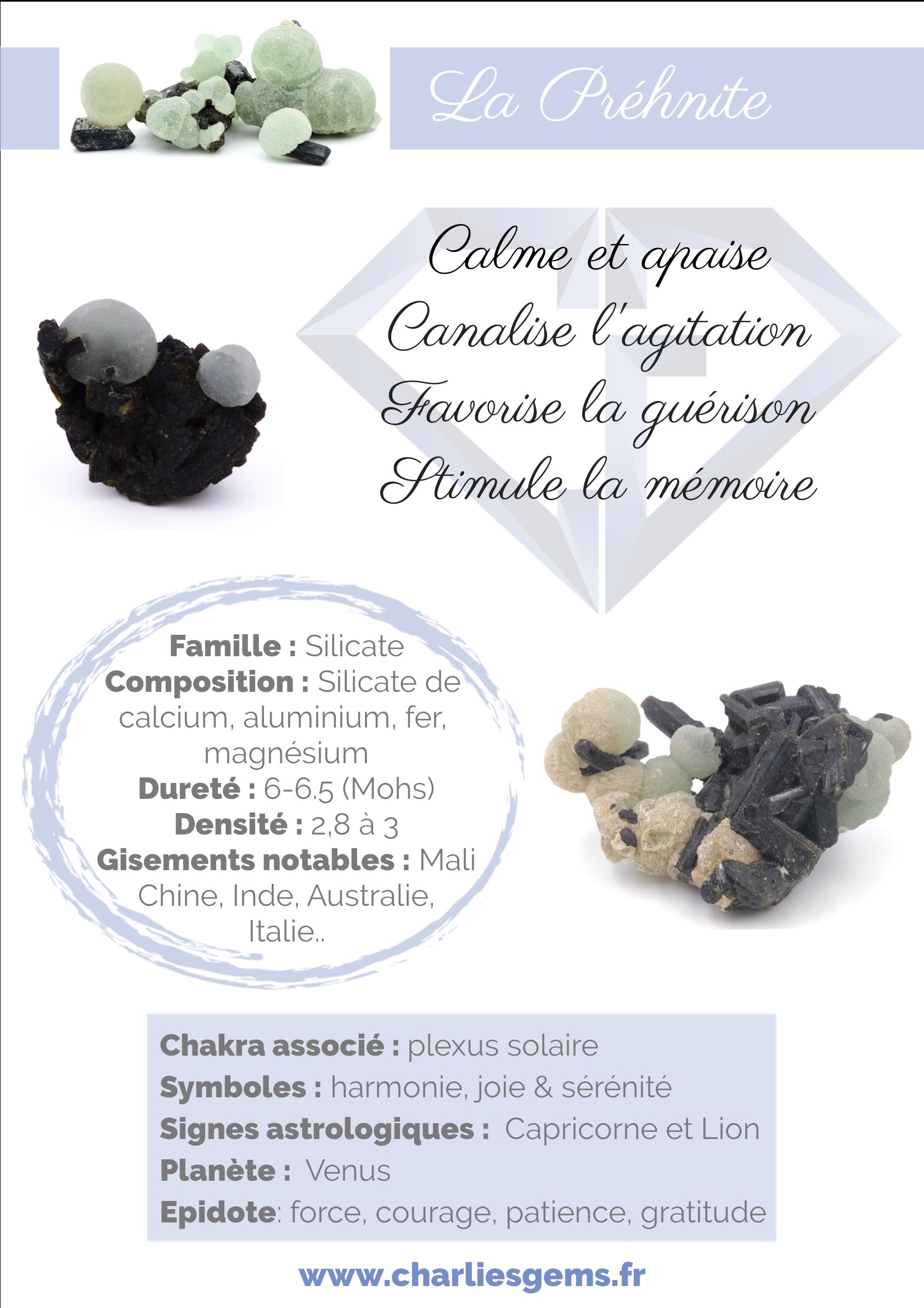 Fiche de présentation de la Prehnite (description, lithothérapie, propriétés) - Par Charlie's Gems