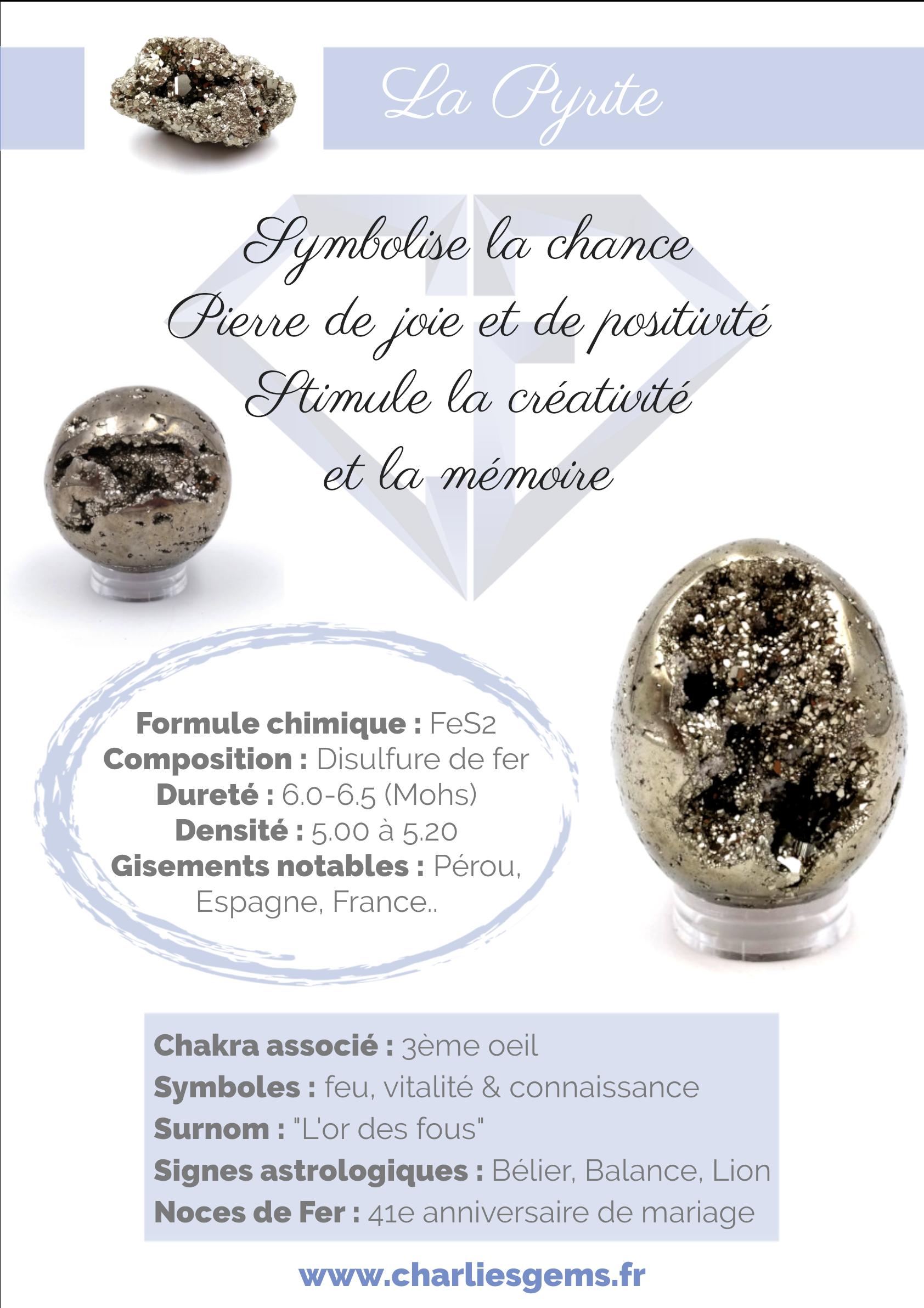 Fiche de présentation de la Pyrite (description, lithothérapie, propriétés) - Par Charlie's Gems
