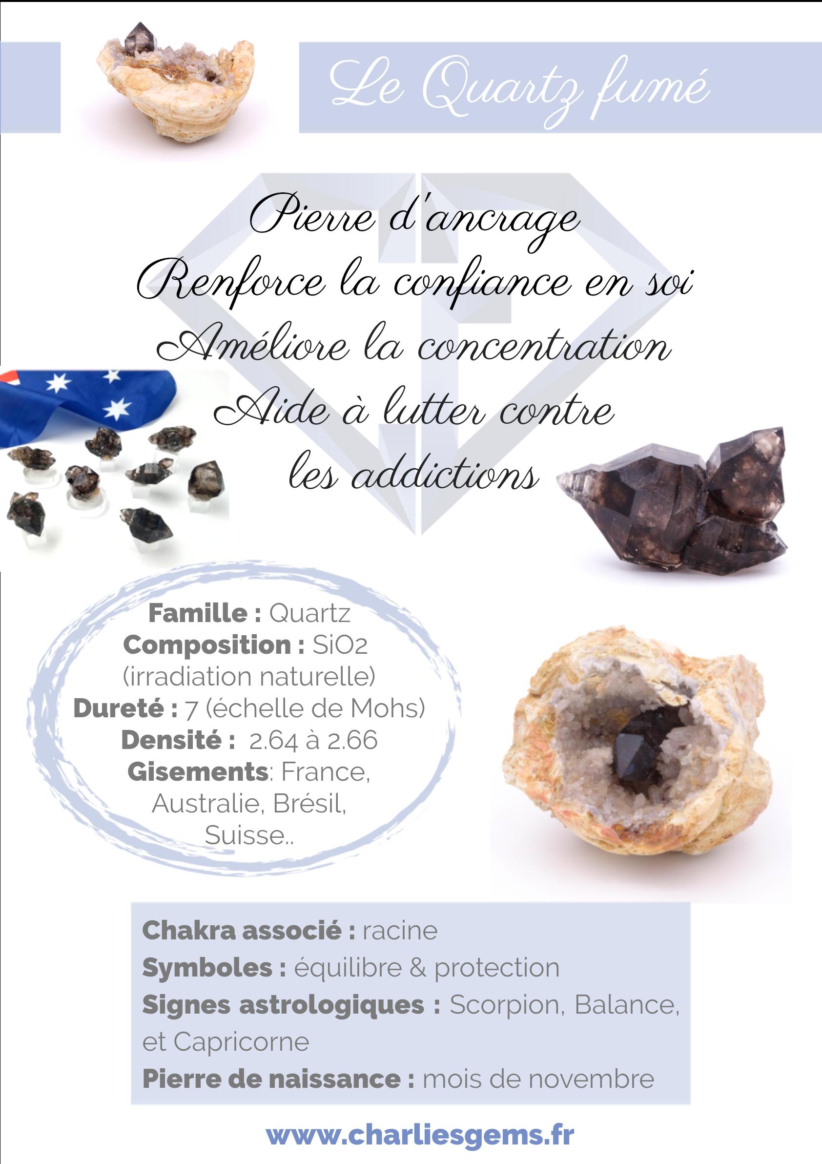 Fiche de présentation du Smoky Quartz (description, lithothérapie, propriétés) - Par Charlie's Gems